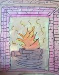 drawing of fireplace