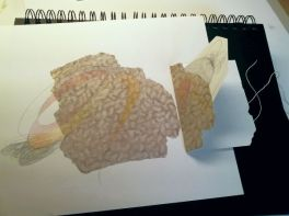 drawing with stitched folio